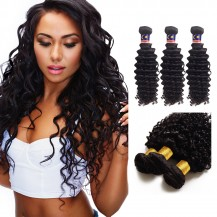 12 Inches*3 Deep Curly Natural Black Virgin Malaysian Hair