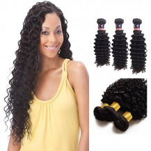 22/24/26 Inches Deep Curly Natural Black Virgin Malaysian Hair