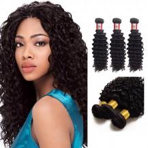 10 Inches*3 Deep Curly Natural Black Virgin Peruvian Hair
