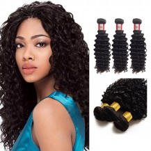 14 Inches*3 Deep Curly Natural Black Virgin Peruvian Hair