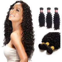 12/14/16 Inches Deep Curly Natural Black Virgin Peruvian Hair