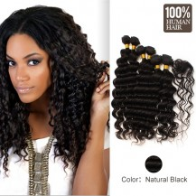 6 set bundle #1B Deep Wave Indian Remy Hair Wefts 16/18/20 Inches