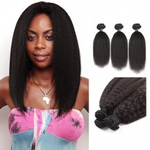 18/20/22 Inches Kinky Straight Natural Black Virgin Malaysian Hair