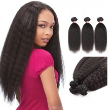 12 Inches*3 Kinky Straight Natural Black Virgin Peruvian Hair