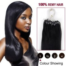 "22"" Jet Black(#1) 100S Micro Loop Remy Human Hair Extensions"