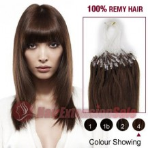 "22"" Medium Brown(#4) 100S Micro Loop Remy Human Hair Extensions"