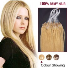 "20"" Ash Blonde(#24) 100S Micro Loop Remy Human Hair Extensions"