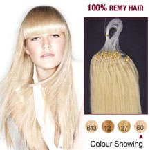 "20"" White Blonde(#60) 100S Micro Loop Human Hair Extensions"