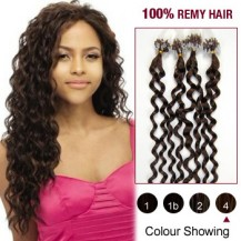 "20"" Medium Brown(#4) 100S Curly Micro Loop Remy Human Hair Extensions"