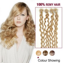 "20"" Ash Blonde(#24) 100S Curly Micro Loop Remy Human Hair Extensions"
