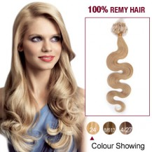 "20"" Ash Blonde(#24) 100S Wavy Micro Loop Remy Human Hair Extensions"