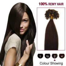 "20"" Dark Brown(#2) 100S Nail Tip Remy Human Hair Extensions"