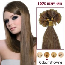 "16"" Light Brown(#6) 100S Nail Tip Human Hair Extensions"