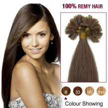 "18"" Ash Brown(#8) 100S Nail Tip Remy Human Hair Extensions"