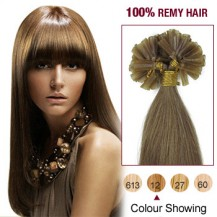 "22"" Golden Brown(#12) 100S Nail Tip Remy Human Hair Extensions"