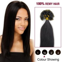 "16"" Natural Black(#1b) 100S Nail Tip Remy Human Hair Extensions"