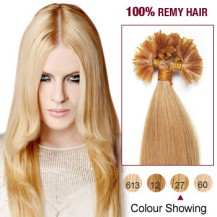 "22"" Strawberry Blonde(#27) 100S Nail Tip Remy Human Hair Extensions"