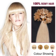 "16"" White Blonde(#60) 100S Nail Tip Human Hair Extensions"