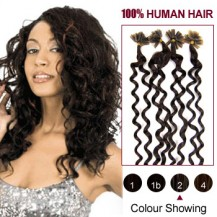 "20"" Dark Brown(#2) 100S Curly Micro Loop Remy Human Hair Extensions"