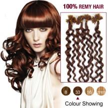 "20"" Dark Auburn(#33) 100S Curly Nail Tip Remy Human Hair Extensions"