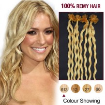 "20"" Bleach Blonde(#613) 100S Curly Nail Tip Remy Human Hair Extensions"
