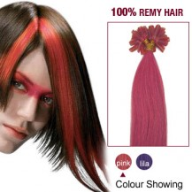 """22"""" Pink 100S Nail Tip Human Hair Extensions"""