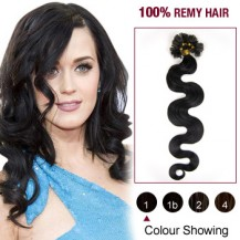 """20"""" Jet Black(#1) 100S Wavy Nail Tip Remy Human Hair Extensions"""