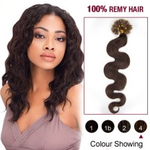 "20"" Medium Brown(#4) 100S Wavy Nail Tip Remy Human Hair Extensions"