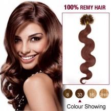 "20"" Dark Auburn(#33) 100S Wavy Nail Tip Remy Human Hair Extensions"