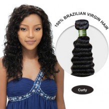 16 Inches Curly Brazilian Virgin Hair Wefts