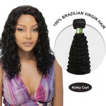 16 Inches Kinky Curl Brazilian Virgin Hair Wefts