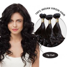 20 Inches Tip Curl Indian Virgin Hair Wefts