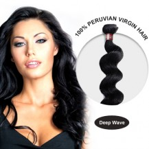 18 Inches Deep Wave Peruvian Virgin Hair Wefts
