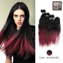 6 set bundle #1B/99J/BUG Ombre Natural Wave Indian Remy Hair Wefts 14/16/18 Inches