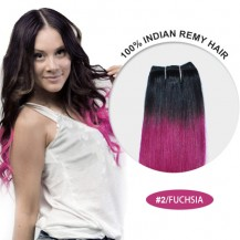 "14"" #2/Fuchsia Ombre Straight 100% Remy Human Hair"
