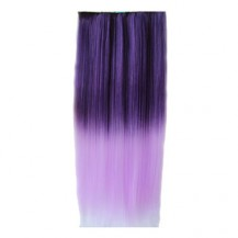Ombre Colorful Clip in Hair Straight 05# Deep purple/Light Purple 1 Piece