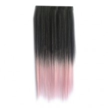 Ombre Colorful Clip in Hair Straight 13# Black/Pink White 1 Piece