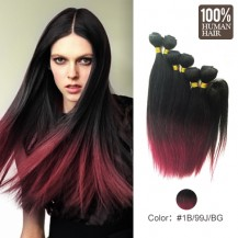 6 set bundle #1B/99J/BUG Ombre Straight Indian Remy Hair Wefts 14/16/18 Inches