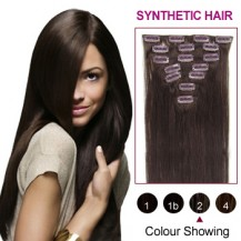"16"" Dark Brown(#2) 7pcs Clip In Synthetic Hair Extensions"