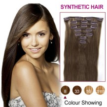 "16"" Ash Brown(#8) 7pcs Clip In Synthetic Hair Extensions"