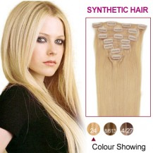 "16"" Ash Blonde(#24) 7pcs Clip In Synthetic Hair Extensions"