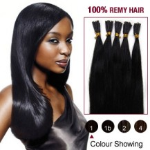 "22"" Jet Black(#1) 100S Stick Tip Remy Human Hair Extensions"