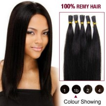 "16"" Natural Black(#1b) 100S Stick Tip Remy Human Hair Extensions"