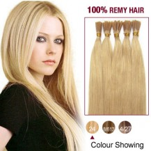 "22"" Ash Blonde(#24) 100S Stick Tip Remy Human Hair Extensions"