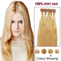 "22"" Strawberry Blonde(#27) 100S Stick Tip Human Hair Extensions"