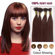 "20"" Dark Auburn(#33) 100S Stick Tip Remy Human Hair Extensions"
