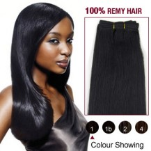 "24"" Jet Black(#1) Straight Indian Remy Hair Wefts"