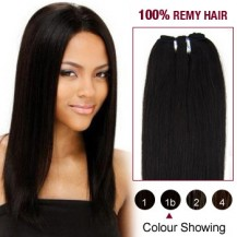 "16"" Natural Black(#1b) Light Yaki Indian Remy Hair Wefts"