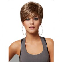 Short straight brown blonde highlight wig