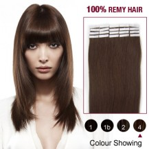 "22"" Medium Brown(#4) 20pcs Tape In Remy Human Hair Extensions"